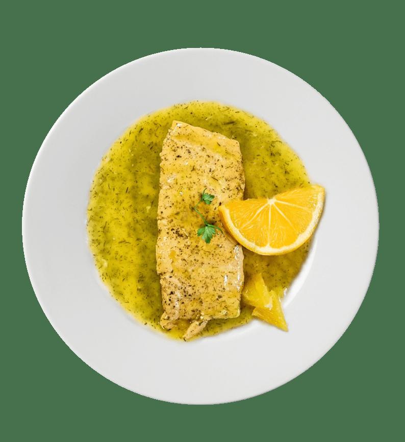 Salmón con salsa de naranja y eneldo.